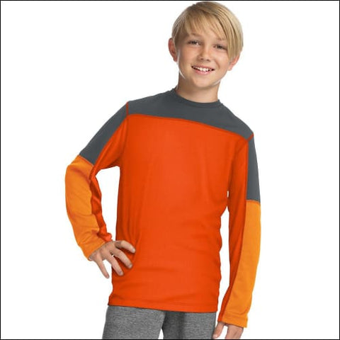 Hanes Sport™ Boys Long Sleeve Pieced Tech Tee - Firecracker/Stealth/Glazed Orange / S - Hanes 0738994312426