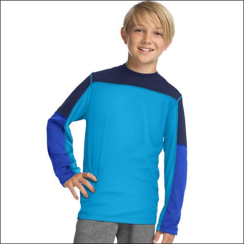 Hanes Sport™ Boys Long Sleeve Pieced Tech Tee - Hydro/Navy/Surf The Web / S - Hanes 0738994312877
