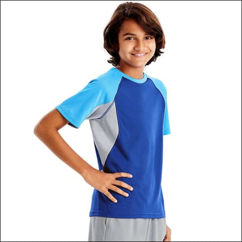 Hanes Sport™ Boys Performance Tech Mesh Pieced Tee - Surf The Web/Hydro/Concrete / S - Hanes 0617914066253