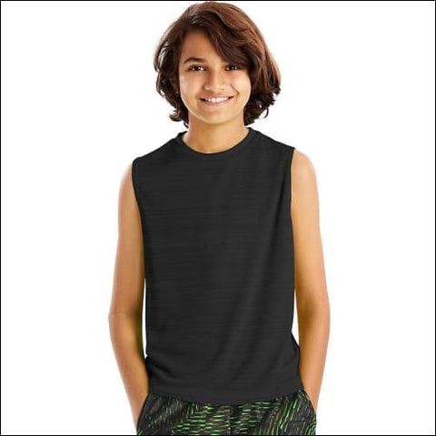 Hanes Sport™ Boys Sleeveless Heathered Tech Tee - Black Heather / L - Hanes 0617914065607