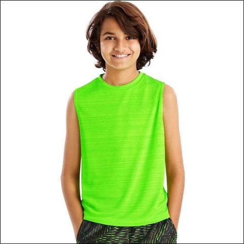 Hanes Sport™ Boys Sleeveless Heathered Tech Tee - Forging Green Heather / L - Hanes 0617914065669