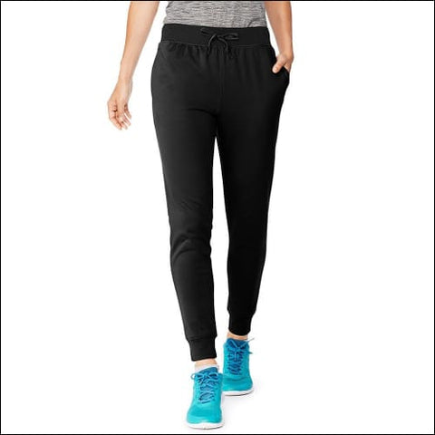 Hanes Sport™ Womens Performance Fleece Jogger Pants With Pockets - Black/Black Heather / S - Hanes 090563757077