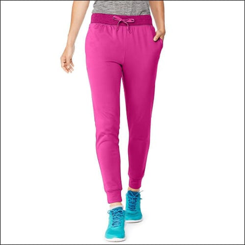 Hanes Sport™ Womens Performance Fleece Jogger Pants With Pockets - Fresh Berry/Fresh Berry Heather / S - Hanes 090563757022