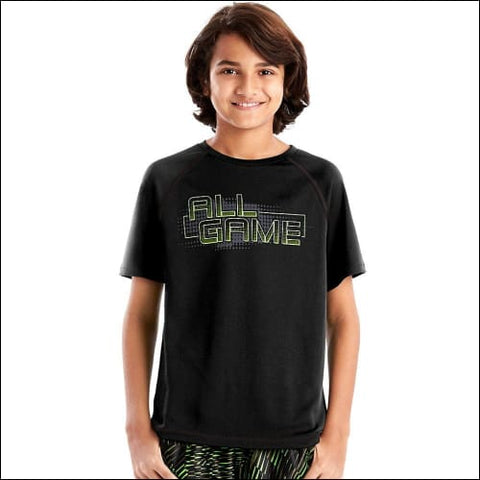 Hanes Sportäó Boys Graphic Short Sleeve Tech Tee - All Game/Black / S - Hanes 0617914066376