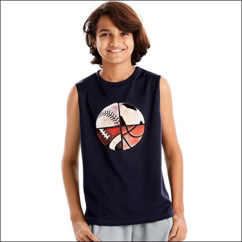 Hanes Sportäó Boys Graphic Sleeveless Tech Tee - Unlimited/Navy / S - Hanes 0617914064389