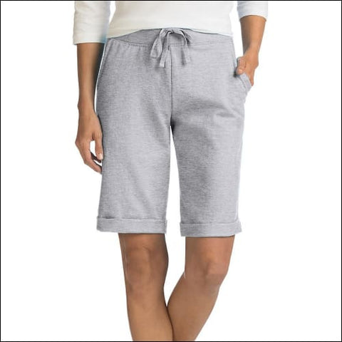 Hanes Womens French Terry Bermuda Pocket Short - Light Steel / S - Hanes 090563215232