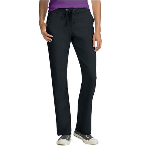 Hanes Womens French Terry Pocket Pant - Black / S - Hanes 090563120222