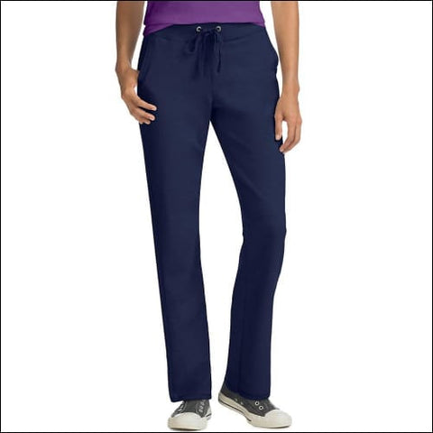 Hanes Womens French Terry Pocket Pant - Navy / S - Hanes 090563120277
