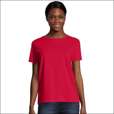 Hanes Womens Relaxed Fit Jersey ComfortSoft® Crewneck T-Shirt - Deep Red / M - Hanes 0766369206773