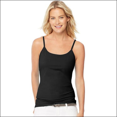 Hanes Womens Stretch Cotton Cami with Built-In Shelf Bra - Black / S - Hanes 090563948949
