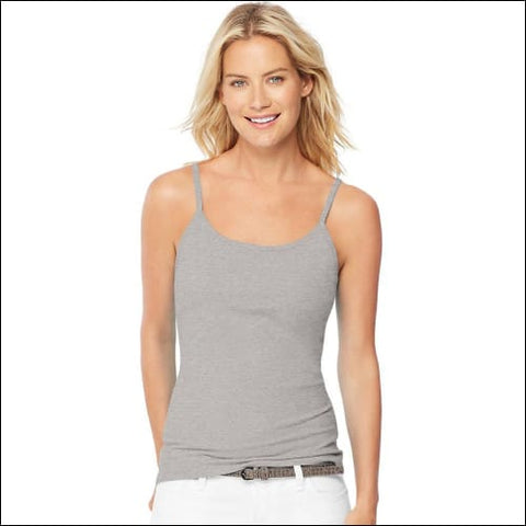 Hanes Womens Stretch Cotton Cami with Built-In Shelf Bra - Grey Heather / S - Hanes 090563948994