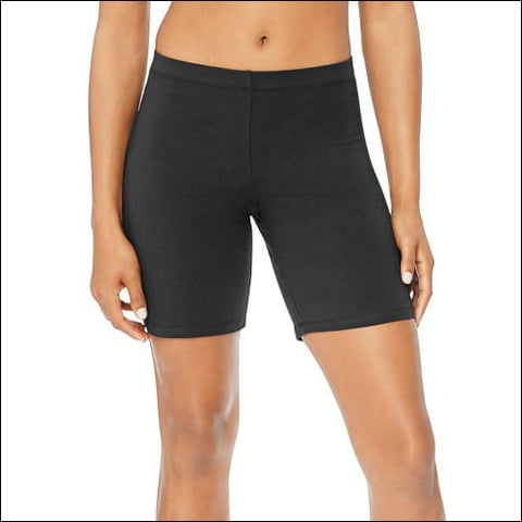 Hanes Womens Stretch Jersey Bike Shorts - Black / S - Hanes 090563707126