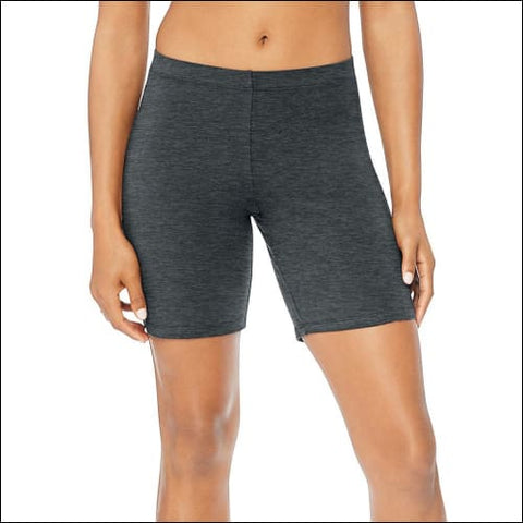 Hanes Womens Stretch Jersey Bike Shorts - Charcoal Heather / S - Hanes 090563707171