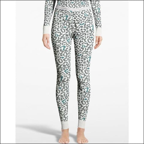 Hanes Womens X-Temp™ Thermal Printed Pant - Snow Leopard / S - Hanes 0721357242348