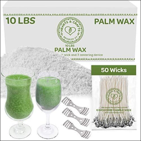 Hearts and Crafts Feathering Palm Candle Wax and Wicks for DIY Candle Making All-Natural & RSPO Certified - 10lb Bag with 50ct 6 Pre-Waxed