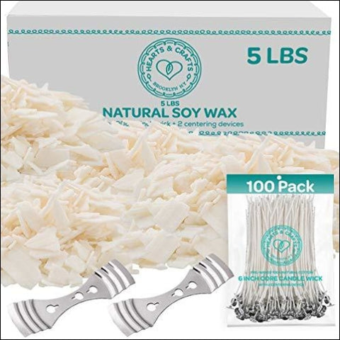 Hearts and Crafts Soy Wax and DIY Candle Making Supplies | 5lb Bag with 100 6-Inch Pre-Waxed Wicks 2 Centering Devices - Hearts & Crafts