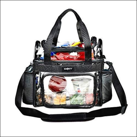 Heavy Duty Clear Lunch Tote Stadium Bag Arena Approved Crossbody Diaper Bag NFL NCAA Football Game Concert Correctional Officer (Black 12 x