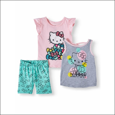 Hello Kitty T-shirt Tank Top & Shorts 3pc Outfit Set (Toddler Girls) - Hello Kitty 0191159081610