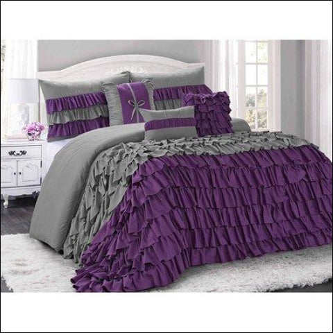 HIG 7 Piece Comforter Set King-Purple and Gray Microfiber Several Ruffles-BRISE Bed In A Bag King Size-Soft Hypoallergenic Fade Resistant-1
