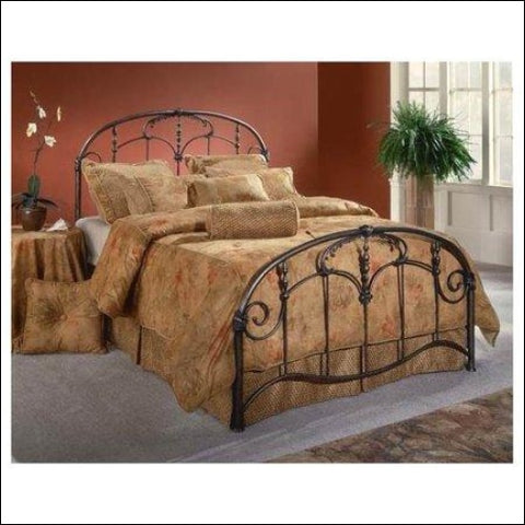 Hillsdale Furniture Jacqueline Headboard and Footboard King Brushed Pewter -Component -Brown -King - Hillsdale Furniture 0796995041004