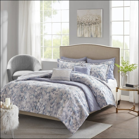 Home Essence Lotti 8 Piece Printed Seersucker Comforter and Coverlet Set Collection - Home Essence 0086569168436