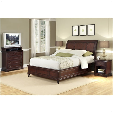 Home Styles Lafayette King Sleigh Bed and Night Stand Rich Cherry -Red -King - Homestyles 0095385839451