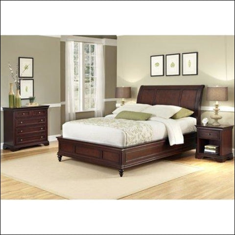 Home Styles Lafayette King/California King Sleigh Headboard Night Stand and Chest Rich Cherry -Red -King - Homestyles 0095385839420