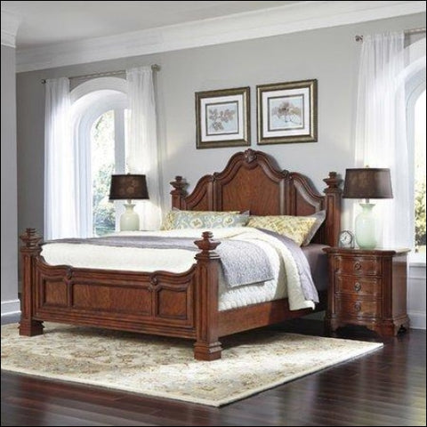 Home Styles Santiago King Bed and 2 Night Stands -Brown -King - Homestyles 0095385018528