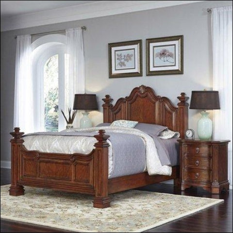 Home Styles Santiago Queen Bed and 2 Night Stands -Brown -Queen - Homestyles 0095385018177