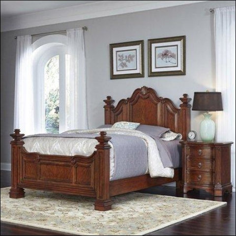 Home Styles Santiago Queen Bed and Night Stand -Brown -Queen - Homestyles 0095385018139
