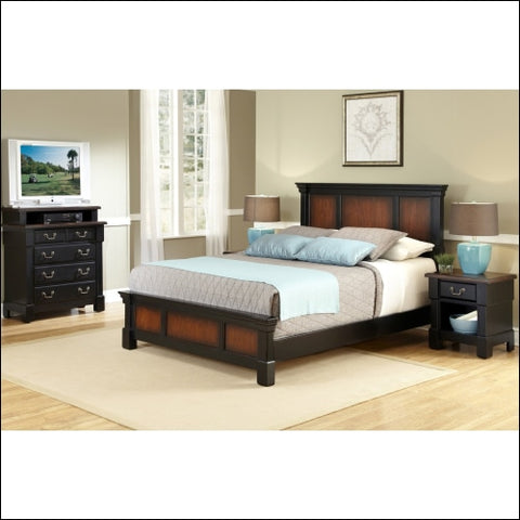 Home Styles The Aspen Collection Queen Bed and Night Stand Rustic Cherry/Black -Black -Queen - Homestyles 0095385839864