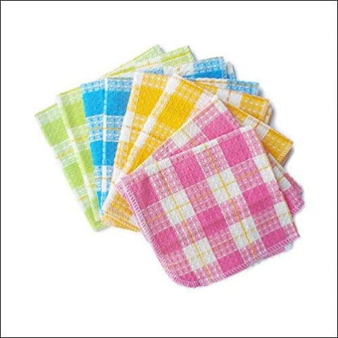 Honla Cotton Windowpane Kitchen Dish Cloths Set of 8 in 4 Assorted Color 13 by 13 Inch Machine Washable - Honla