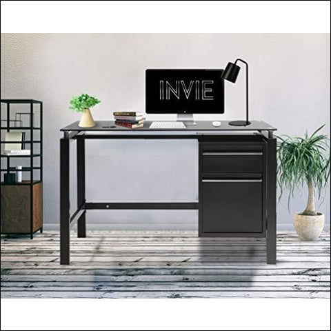 INVIE Home Office Table 46 Desk Computer Workstation with Drawers Glass Top - INVIE 755431060917