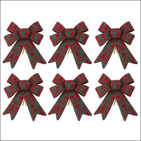 iPEGTOP 6 Pack Christmas Bows Holiday Ribbons Red and Green Plastic Bows for Festive Ornaments Christmas Trees Wreaths and Gifts Wrapping