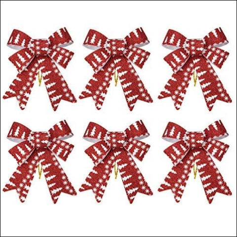 iPEGTOP 6 Pcs Christmas Bows Holiday Ribbons Shiny Glitter Red Plastic Bows for Festive Holiday Ornaments Christmas Trees Wreaths and Gifts