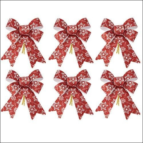 iPEGTOP 6 Pcs Christmas Bows Holiday Ribbons Shiny Glitter Red Plastic Bows with Snowflakes Pattern for Festive Holiday Ornaments Christmas