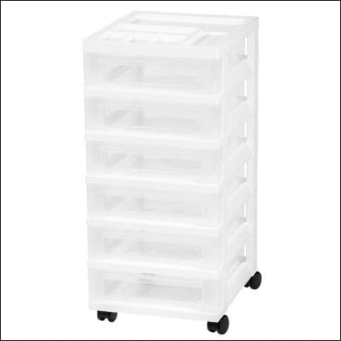 IRIS 6-Drawer Rolling Storage Cart with Organizer Top White - IRIS USA Inc. 0762016449791
