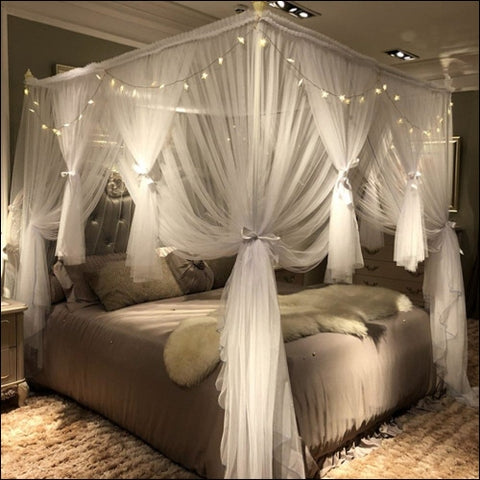 Joyreap 4 Corners Post Canopy Bed Curtain for Girls Adults - Royal Luxurious Cozy Drape Netting - 3 Opening Mosquito Net - Cute Princess
