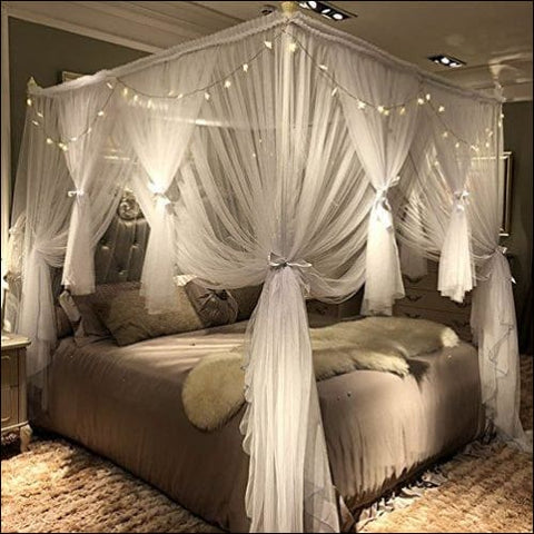Joyreap 4 Corners Post Canopy Bed Curtain for Girls & Adults - Royal Luxurious Cozy Drape Netting - 3 Opening Mosquito Net - Cute Princess