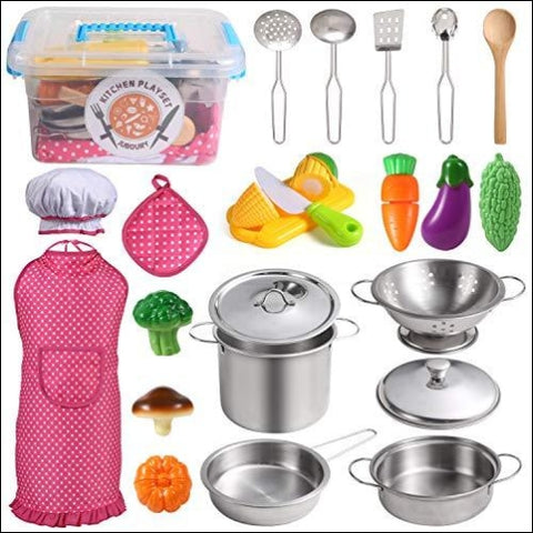 Juboury Kitchen Pretend Play Toys with Stainless Steel Cookware Pots and Pans Set Cooking Utensils Apron & Chef Hat Cutting Vegetables for