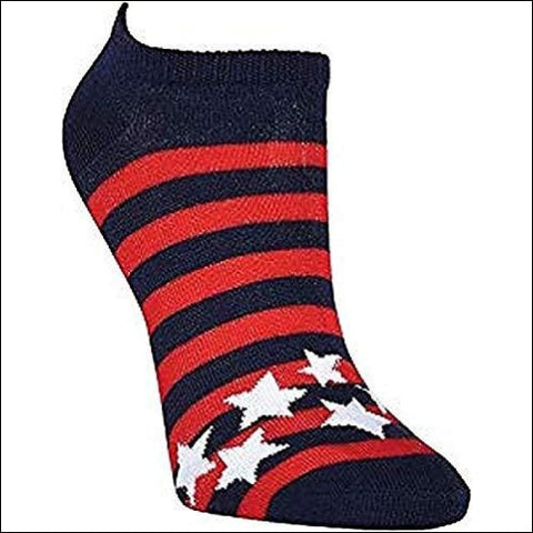 K. Bell Womens 6 Pack Novelty No Show Low Cut Socks Americana (Red/White/Blue) Shoe Size: 4-10 - K. Bell Socks 780512259584