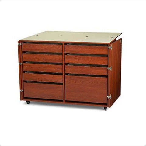 Kangaroo Kabinets K7905 Dingo Nine Drawer Sewing Storage Cabinent Teak - Arrow Sewing Cabinets 0650873790500