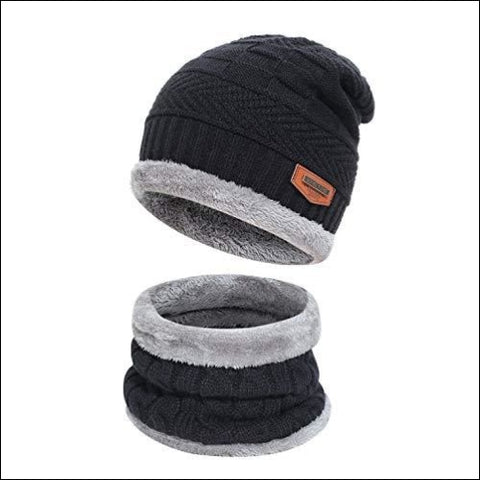Kids Boys Girls Winter Warm Knit Beanie Hat Cap and Scarf Set with Fleece Lining Black - Fantastic Zone