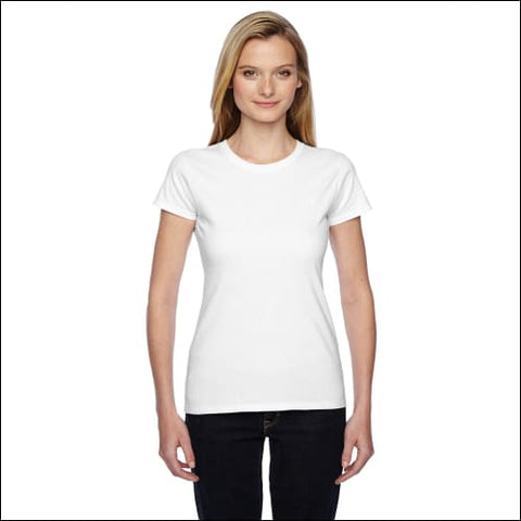 Ladies 4.7 oz. Sofspun® Jersey Junior Crew T-Shirt - WHITE / S - Fruit of the Loom 00885306333324