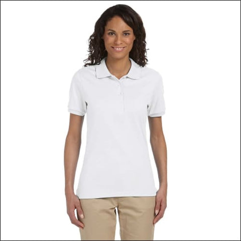 Ladies 5.6 oz. SpotShield Jersey Polo - WHITE / S - Jerzees 00042463463497