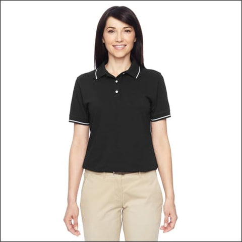 Ladies 5.6 oz. Tipped Easy Blend Polo - BLACK/ WHITE / 3XL - Harriton 00882849103643