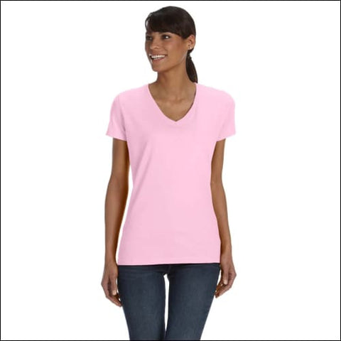 Ladies 5 oz. HD Cotton V-Neck T-Shirt - CLASSIC PINK / L - Fruit of the Loom 00885306250713
