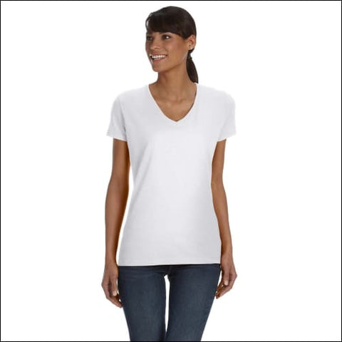 Ladies 5 oz. HD Cotton V-Neck T-Shirt - WHITE / S - Fruit of the Loom 00885306161828