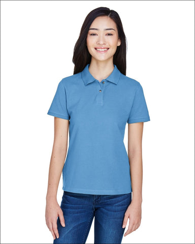 Ladies 6 oz. Ringspun Cotton Piqué Short-Sleeve Polo - LT COLLEGE BLUE / XL - Harriton 00882849183362