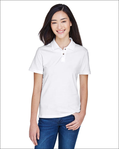 Ladies 6 oz. Ringspun Cotton Piqué Short-Sleeve Polo - WHITE / 3XL - Harriton 00882849183201
